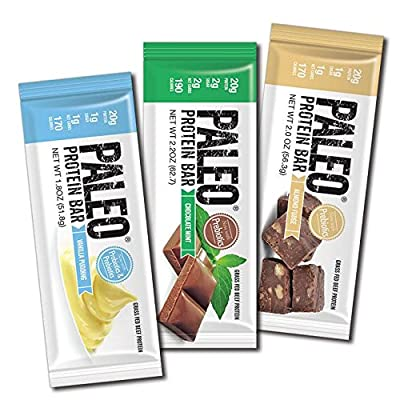 Paleo Protein Bars® Grass-Fed Beef Variety Box (3 Flavors) (20g Protein) (12 Bars) w/Prebiotics Low Net Carb Gluten Free by Julian Bakery