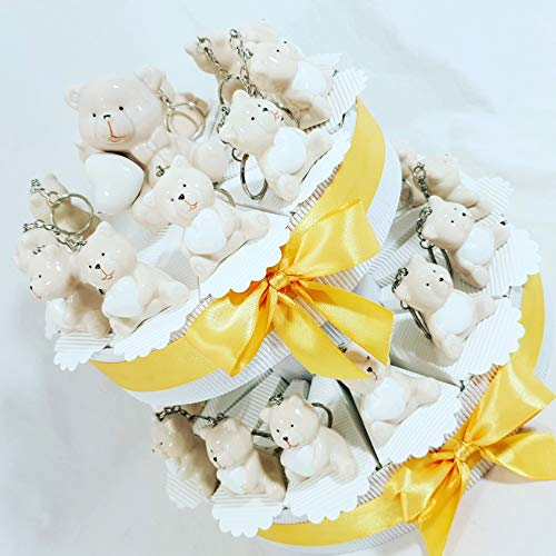 Bomboniere animaletti battesimo nascita orsetti portachiavi e centrale orsetto su plex con torta 25 fette con confetti - torta 25 fette + 25 orsetti + confetti bianchi in ogni fetta