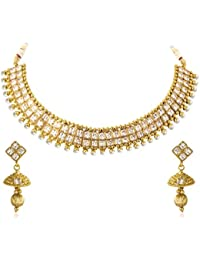Vk Jewels Wedding Collection Gold Brass Alloy Necklace Set For Women Vknks1249G