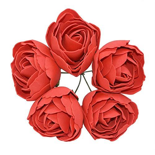 WPYAV 5 stücke 6 cm künstlicheBlumen Schaum Rosen DIY Blume Kopf Multi-Used für hochzeitsdekoration Scrapbooking kränze wohnkultur, rot (Herzstück Kranz)