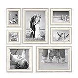 PHOTOLINI 7er-Set Bilderrahmen Shabby-Chic Landhaus-Stil Weiss 10x10 10x15 13x18 20x20 und 20x30 cm inkl. Zubehör/Fotorahmen