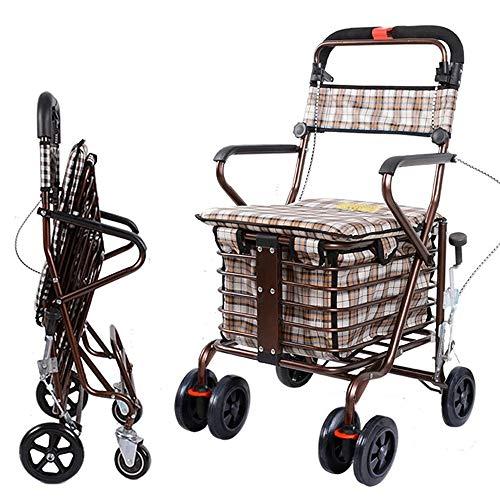 Tragbare, zusammenklappbare Einkaufswagen für ältere Menschen, 4-Rad-Rollator-Rollatoren aus Aluminium mit gepolstertem Sitz und gepolsterten Bremsen, höhenverstellbar, leicht und sicher im Design -