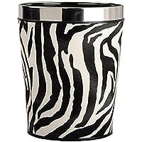 Zebra Schwarz Papierkorb Fniss M/ülleimer Aus Metall Inhalt 6 Liter Durchmesser 23 cm H/öhe 26 cm