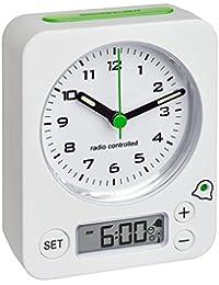 TFA Dostmann 60.1511  COMBO Funkwecker mit analoger Uhrzeit und digitaler Weckzeit, besonders leise und genau, Kunststoff, weiß, 9 x 4 x 11.5 cm