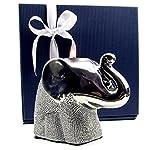 GILDE Deko Elefant Exklusive Elefantenfigur, Keramik ALS Teelichthalter in eleganter Geschenkbox mit Schleifenband, Glücksbringer, Geschenkidee zu Weihnachten, Geburtstag Deko Wohnzimmer (Höhe 10 cm)