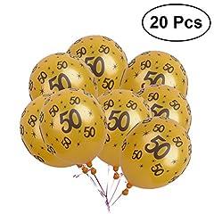 Idea Regalo - YeahiBaby palloncini 50 anni compleanno lattice decorazioni compleanno 20 pezzi (Oro)