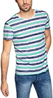 EDC by Esprit Men's I/O Aop Striped Short Sleeve T-Shirt, White, XX-Large