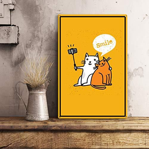 Fhdang Decor Schild Take a Photo with Your Friend, lustiges Time Together We Smile Cat Blechschild mit Katzen Tablet für den Tisch, Metall, Multi, 12x18 inches -