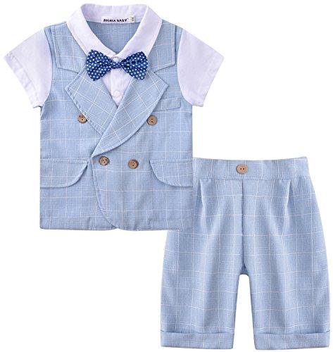 Zoerea Baby Junge Anzug 2 TLG Gentleman Kleidung kurzen Ärmeln mit Bowtie Jungen Kleidung Gentleman Baumwolle Sommer Taufe Hochzeit (Anzüge Kinder)