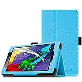 Fintie Lenovo Tab 2 A7-10 / A7 -30 Hülle Case - Folio Premium Kunstleder Schutzhülle Tasche Etui Cover mit Standfunktion Stylus Loop für Lenovo Tab 2 A7-10 / A7-30 17,8 cm Tablet, Blau