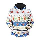 YiLianDa Herren Langarmshirt Weihnachtspullover Kaputzenpullover Sweatshirts Hooded Rundhals Pulli mit 3D Druck