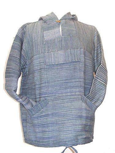 Blau / Grün Handgesponnen Baumwolle Nepalesisch Baja Style Kapuzenpulli - Fair Trade - blau, grün, Large (Produzent Herren Hoodie)