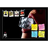 ArtzFolio Ice Cube In A Womans Mouth Printed Bulletin Board Notice Pin Board cum Black Framed Painting 17.5 x 12inch