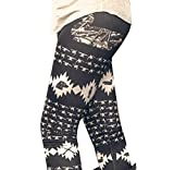Tongshi Moda Mujer Otoño Invierno Skinny Printed Stretch Pantalones Leggings (Negro, M)