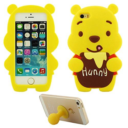Coque Étui de Protection pour Apple iPhone 5 5S 5C SE Doux Silicone Case Anti choc Couverture arrière Charmant Dessin animé Ours Jaune avec 1 Silicone Kickstand marron