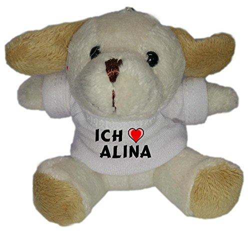 Plüsch Hündchen Schlüsselhalter mit T-shirt mit Aufschrift Ich liebe Alina (Vorname/Zuname/Spitzname)