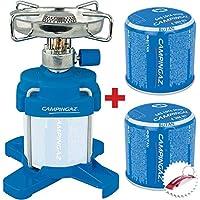 Bricolemar CAMPINGAZ - Set Cocina Camping Gas Bleuet 206 Plus + 2 Cartuchos Gas Campingaz c206 (Incluyero Llavero Abridor Gratis!)