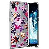 Compatible avec Coque Huawei P20 Etui Housse Impression de Motifs Transparente Souple Silicone Gel TPU Housse étui de Protection Crystal Clair Case Cover pour Huawei P20,Fleurs Rouges