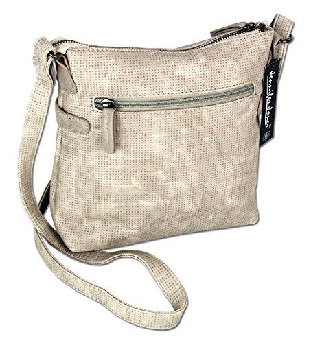 Jennifer Jones Taschen Damen Damentasche Handtasche Schultertasche Umhängetasche Tasche klein Crossbody Bag hellgrau / jeans-blau (3121) (Braun) Hellgrau