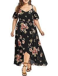b563c4faa75 CharMma Women s Boho Plus Size Cold Shoulder Floral Print Maxi Dress with  Belt