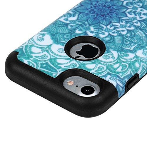 iPhone 7 Case Schutzhülle iPhone 7 Hülle YOKIRIN Hybrid Case Cover Premium Dual Layer Schutz Handyhülle Hart PC Hardcase Hartschale + Innere Flexibel TPU Silikon Case Skin Handytasche Bunt Muster:Gart Totem Blume schwarz