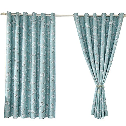 NACHEN Blackout Short Curtains Gedruckt Schlafzimmer Balkon Schatten Fenster Vorhang, Green, 200 * 200cm -