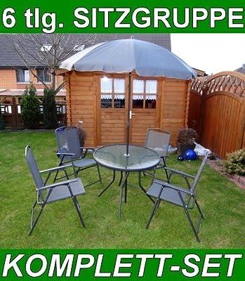 6 teilige Garten Sitzgruppe 4 Stühle+Tisch+Sonnenschirm