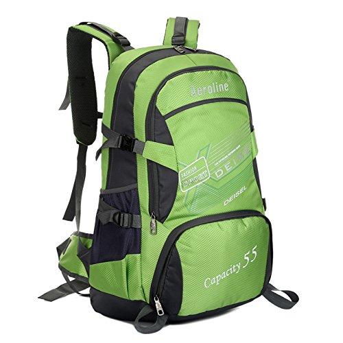 Kapazität 55 Liter Bergsteigen Taschen für Männer und Frauen Green