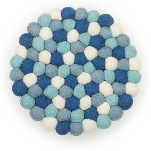 Filzkugel Untersetzer blau weiß mint Topfuntersetzer 20 cm aus reiner Merino Wolle gefertigt