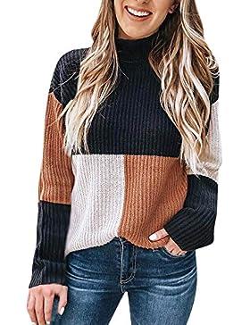 ZODOF suéter de la Raya Tallas Grandes Elástico Suelto largas Suave cómodo Suéter de Punto Pullover Mujeres Colorblock...