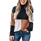 OIKAY Pullover Top Damen Colorblock Stand Langarm Strickpullover Jumper Bluse Pullover Damen Tumblr(Kaffee ,EU-38/L)