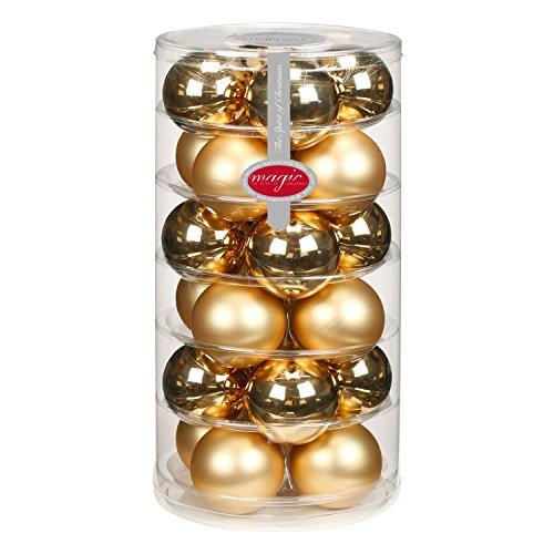 24 Christbaumkugeln GLAS 6cm // Weihnachtskugeln Baumkugeln Baumschmuck Weihnachtsdeko Kugeln Glaskugeln Dose, Farbe:Brokat Gold glanz matt