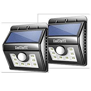 Coolstuffx 8 LED Motion Sensor Solar Security Lights. Waterproof, Sensitive Wide Angle Sensor, Ultra Bright LED, Smart Lighting Modes, Security for Gardens, Driveway, Yard, Front Door (Pack of 2)