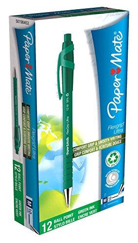 paper-mate-flexgrip-stylo-a-bille-retractable-vert-moyen-boite-de-12