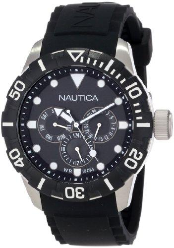 Nautica Women's 44mm Black Resin Band Steel Case Quartz Analog Watch N13643G