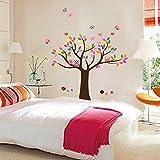 Todeal - Vinilo autoadhesivo para dormitorio infantil con diseño de árbol, búhos y mariposas multicolor (se puede quitar fácilmente)