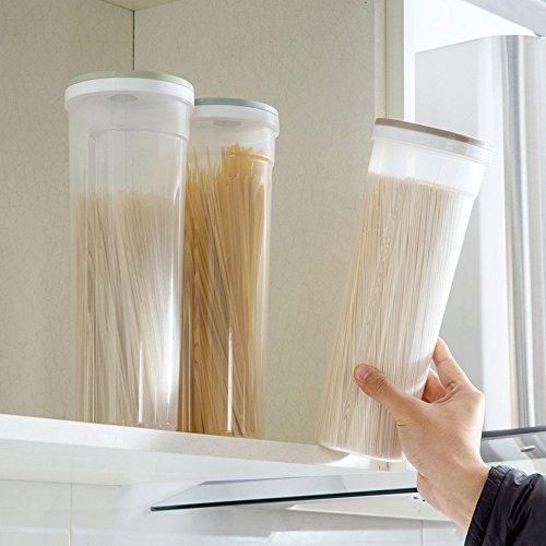 erthome Neue Multifunktions Spaghetti Box Besteck Snacks Nudel Aufbewahrungsbox Stäbchen Boxen getreide Lagerung Make-Up Box Küche Lieferungen (Klar C)
