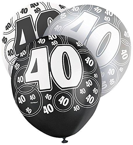 Unique Party - 80895 - Paquet de 6 Ballons en Latex - 40e Anniversaire - 30 cm - Noir/Argent Glitz 0011179808953
