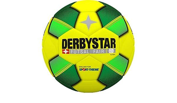 22 cm I 420 g I Soft-PVC I Gelb-Gr/ün Derbystar Futsal FAIR I Hallenfu/ßball I Futsalball I Fair Trade Futsal-Ball I /ø ca