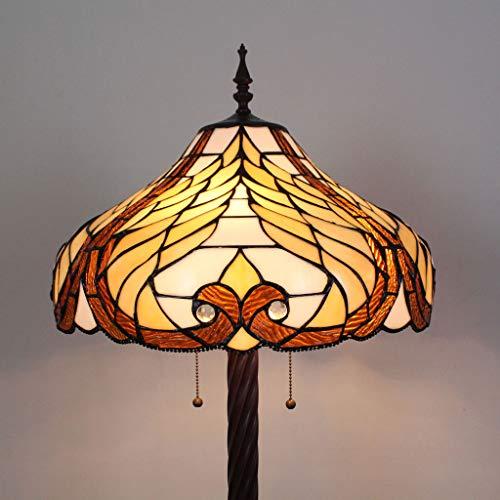Gweat Tiffany 18 Pouces Baroque vitrail Salon créatif Chambre à Coucher Lampe de Chevet lampadaire Classique Luxe atmosphérique lampadaire