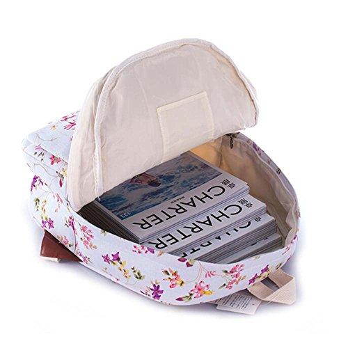Stampa Zaino Floreale Canotta Zaino Tempo libero Knapsack Daypack Borsa scolastica per lavorare week-end Holiday Weekend Scuola di Picnic Fiore viola e rosa