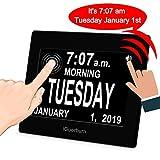 iGuerburn 20,3cm Digital Talking écran Tactile Jour Calendrier Alarme Horloge Seniors aux Personnes âgées souffrant de démence Alzheimer Perte de mémoire de Personnes malvoyantes Cécité Noir
