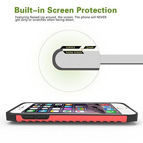 amovo iPhone 6S Plus Fall, iPhone 6Plus Case [Dual Layer] [Hybrid Defender] Apple iPhone 6S Plus/iPhone 6Plus Schutzhülle mit HD Displayschutzfolie iPhone 6S Plus Telefon Fall, plastik, schwarz, iPh Pink
