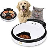 TOPHGDIY Automatisierte Futterspender Nassfutter Premium, Katzen-Futter-Automat für kleine bis mittele Hunde und Haustier, 5 Tage / Mahlzeiten mit Sprachaufnahme und Timer
