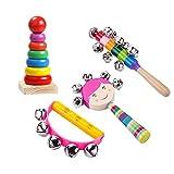 Aideal 4 Stück Holz Musikinstrumente Kinder Set, Regenbogenblöcke, Schlittenglocke, Handschlittenglocken 5 große Glocken,Handgelenkglocken Rhythmus Band Set