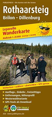 Rothaarsteig, Brilon - Dillenburg: Leporello Wanderkarte mit Ausflugszielen, Einkehr- & Freizeittipps und Zugangswegen, GPS-genau. 1:25000 (Leporello Wanderkarte / LEP-WK)