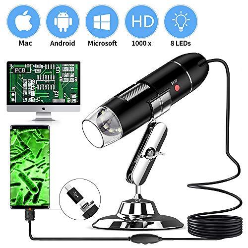 Kyansin USB Microscopio 8 LED Digitale Microscopio, Da 40 a 1000 volte Ingrandimento Endoscopio, HD USB Microscopio Telecamera,con adattatore OTG e supporto metallico per iPhone, iPad, Android