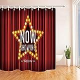 Cinema Decor Duschvorhang von KOTOM Bühne Drapery zeigt jetzt Gold Star roten Vorhang Hintergrund Badvorhänge, 69X70 Zoll