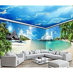Fond D'Écran 3D Papier Peint 3D Er Defu Bleu Côte De La Mer Plage Maison Complète Murale Non-Tissé Mural Détachable Tv Mur Peinture Décorative430Cm×300Cm