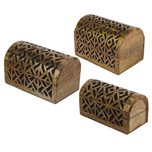 Box Holz geschnitzt icrafts Geometrische Muster/Holz jewelry box/Schmuckkästchen/Andenken/Aufbewahrungsbox 3-teiliges Set braun -